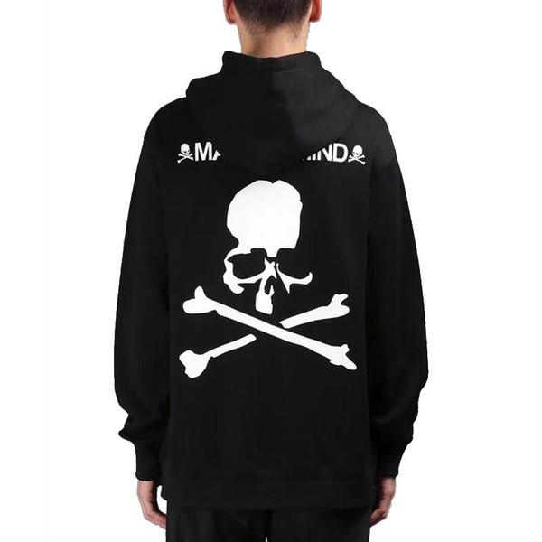 17AW Beyni MMJ Hoodies Kafatası Baskılı Siyah Hoodies Boy Tişörtü Erkek Kadın Moda Çift Hoodies HFWPWY015