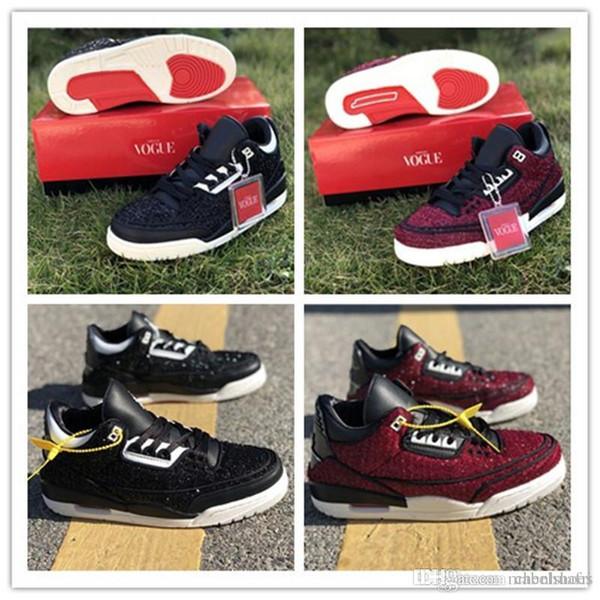 2019 Vogue Erkek Trainer Ayakkabı Boyutu 7-13 Lider Siyah Şarap Kırmızısı Benzersiz Tasarımcı Moda 3s Awok Basketbol Ayakkabı x