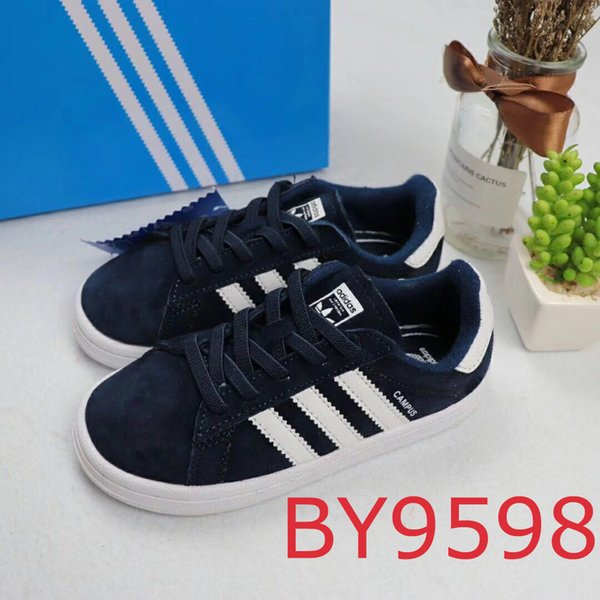 Kids Designer Shoes 2019 New Fashion Striped Shell Casual Sports Shoes Boys and Girls Luxury Sports Shoes 6 Styles Teens Girls Boys 2 PCS