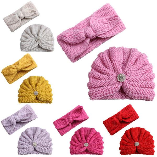 2pcs/set Autumn Winter Baby Hat+designer Headband Fashion Newborn Beanies Girls Headbands Girls Caps Crochet Knit Hat kids Hair Bands A2635