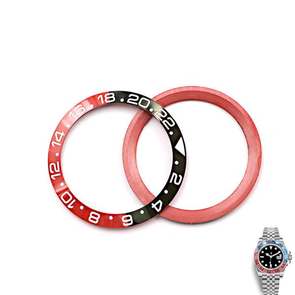 Rolamy TOP Ferramentas de Reparação Atacado GRADE Preto / Vermelho Substituição Cerâmica Bezel Inserção Para GMT-Master II 116710B Assista