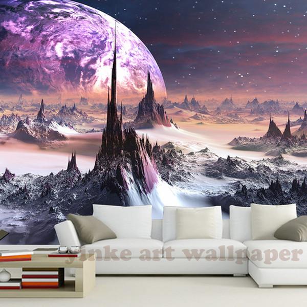 personalizzato stereoscopico 3D carta da parati fantasy Universo stella cielo montagne 3d carta da parati TV sfondo papel de parede para quarto