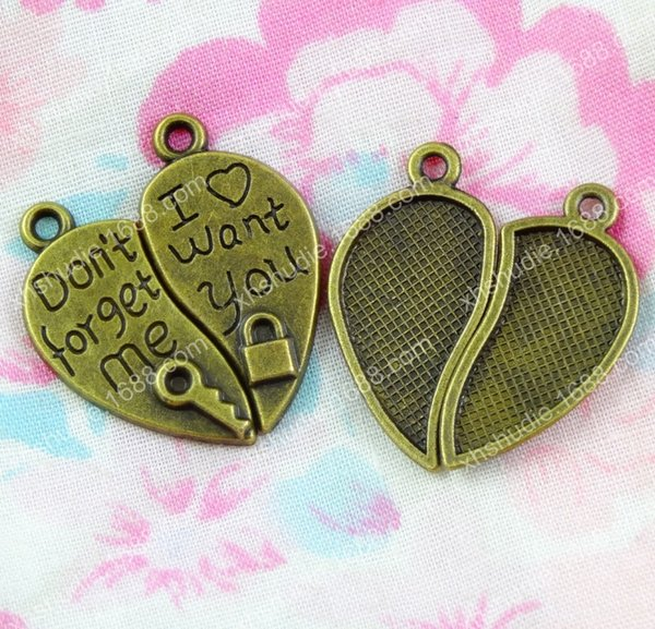 60pcs 26*24MM Antique lock key heart I want you don't forget me charm for bracelet vintage metal pendant earring handmade DIY jewelry making
