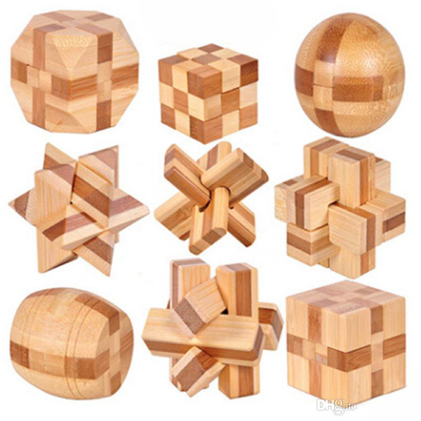 top popular 2017 New Design IQ Brain Teaser Kong Ming Lock 3D Wooden Interlocking Burr Puzzles Game Toy For Adults Kids11 2021