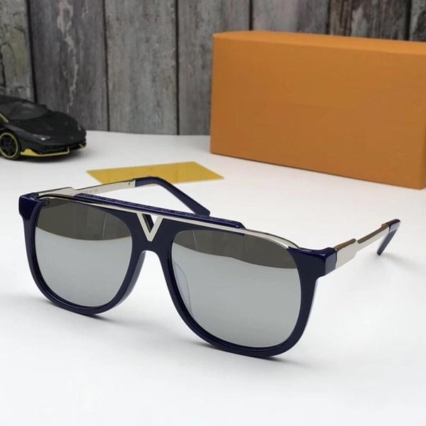 dark blue with silver lens