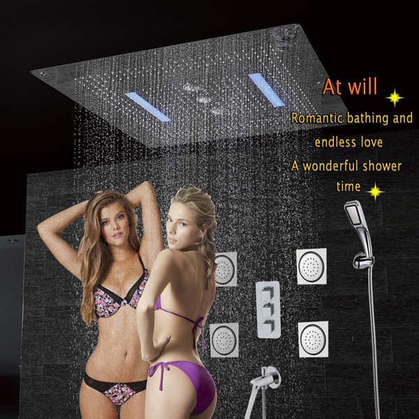 Modern Wall Mounted Shower Faucet Bath Panel Tap Thermostatic Shower Mixer LED Ceiling Shower Head Rain Waterfall Swirl Massage Jets CS5424