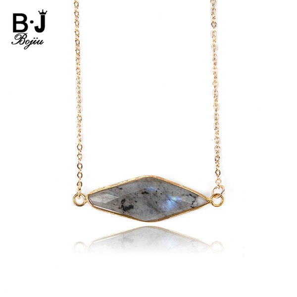 BOJIU Classic Natural Labradorite Stone Choker Necklaces Women Gold Adjustable Copper Link Chain Necklaces Femme Jewelry NKS205