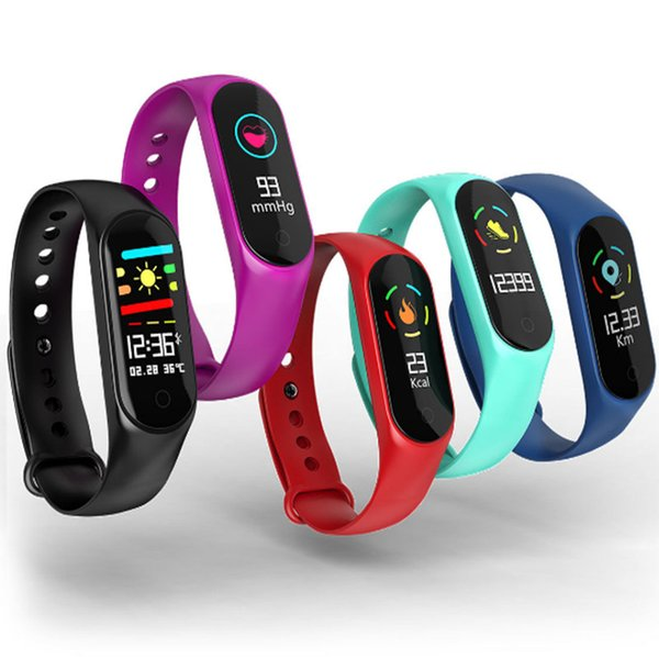 M3S Color Screen Fitness Tracker IP67 Waterproof Blood Pressure Heart Rate Monitor Smart Bracelet Band Standby