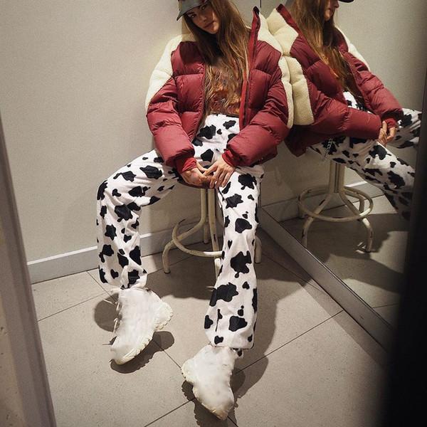 2019 élastique taille haute lait vache impression pantalons femmes occasionnels pantalons lâches pantalon jambe droite large femme
