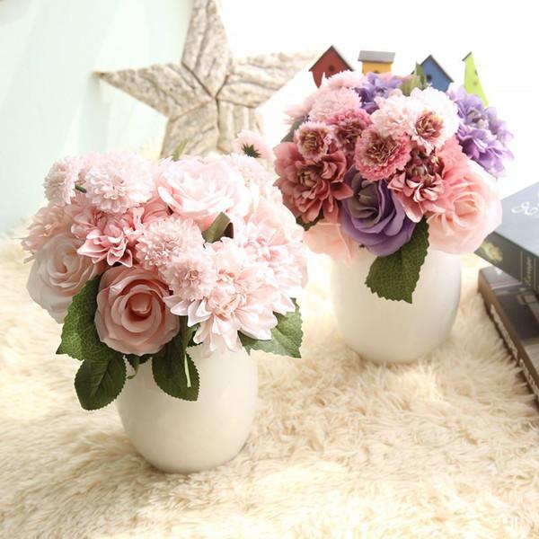 Silk Flower Roses Artificial Flowers for Wedding Decoration Silk Dahlia Hybrid Flower for Home Decor Fall Vivid Fake Leaf