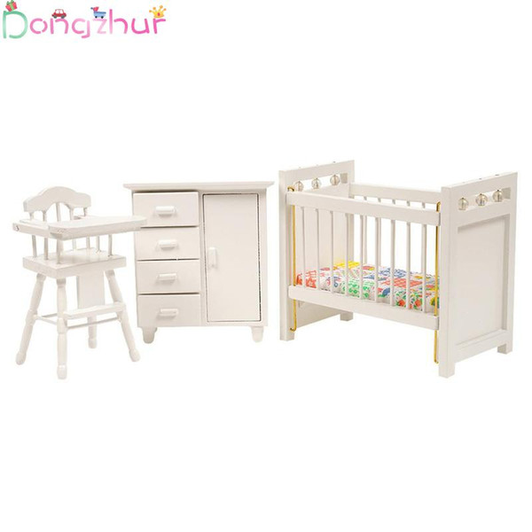 1:12 Dollhouse Miniatures Wooden Crib Baby Bed Chair Cabinet DIY Doll House  Bedroom Furniture Accessories Children DIY Toys Dolls House Kits To Make ...