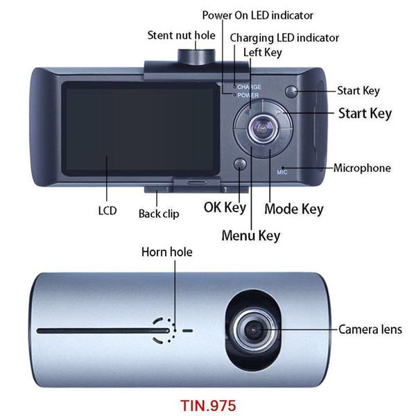 Enregistreur vidéo GPS avec enregistreur vidéo pour voiture DVR à double objectif 2,7