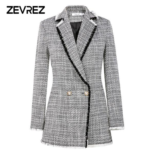 Autumn Fashion White Blazer Suit Women Sweet Double Breasted Female Long Sleeve Ladies Office Casual Blazer Jackets Coat Zevrez