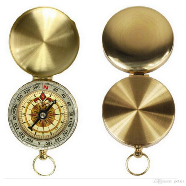 50pc Camping Hiking Portable Brass Gold Compass Mini Navigation for Outdoor Activities Sports Novelty Toys Finger Gag Kid Toys Xmas Birthday