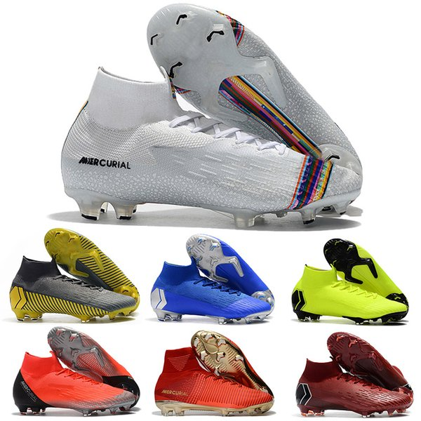 New Arrival 2019 Mens Mercurial Kids Fury XIII Elite FG Football Shoes Flexible 360 Superfly VI Indoor Soccer Cleats Boots