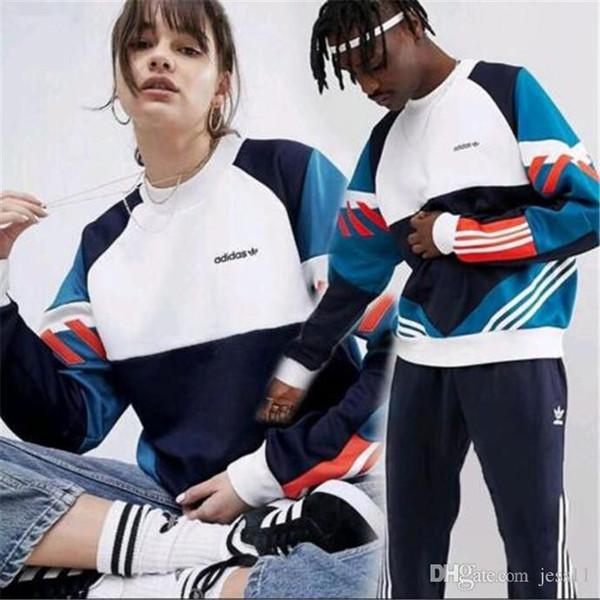 L'ultima moda di alta qualità dell'annata contrasto di colore sport patchwork con cappuccio degli uomini e donne s-4XL