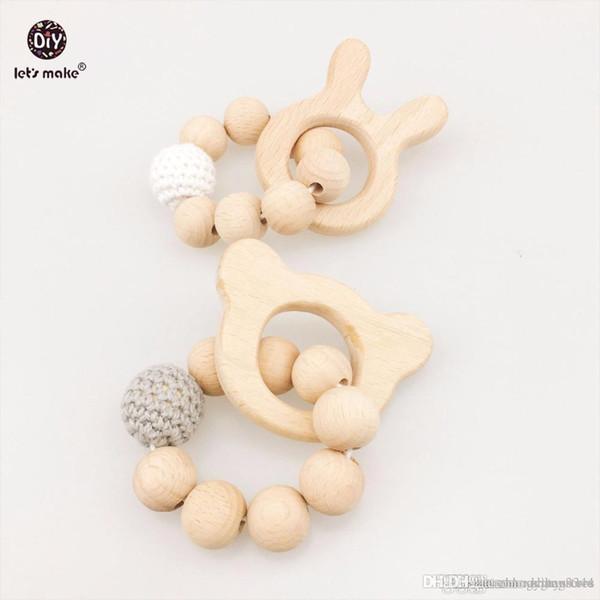 Let's Make Baby Beech 2pc Wooden Teether Beads Rabbit DIY Jewelry Teething Bracelet Pram toy Bracelets Baby Rattle