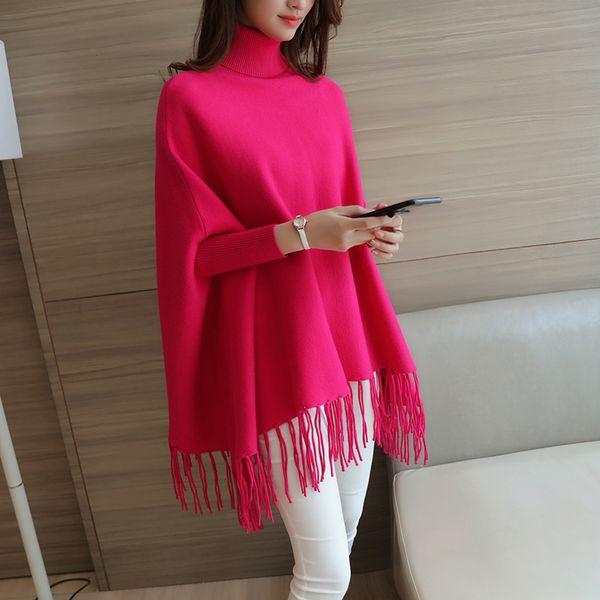 women sweater and pullovers 2017 batwing sleeve tassel sweater female loose turtleneck sweaters fringed cloak outerwear