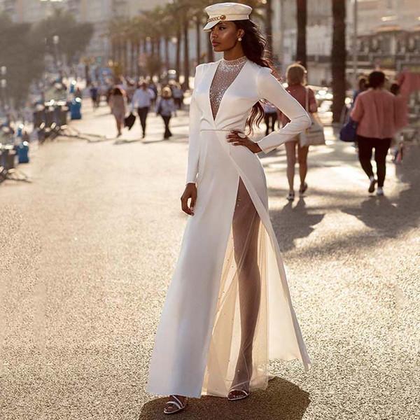 Eightree Long Sleeves wedding Dresses high Neck Beach Boho bridal gowns 2020 Satin High Split Illusion Formal Dress Robe de soiree