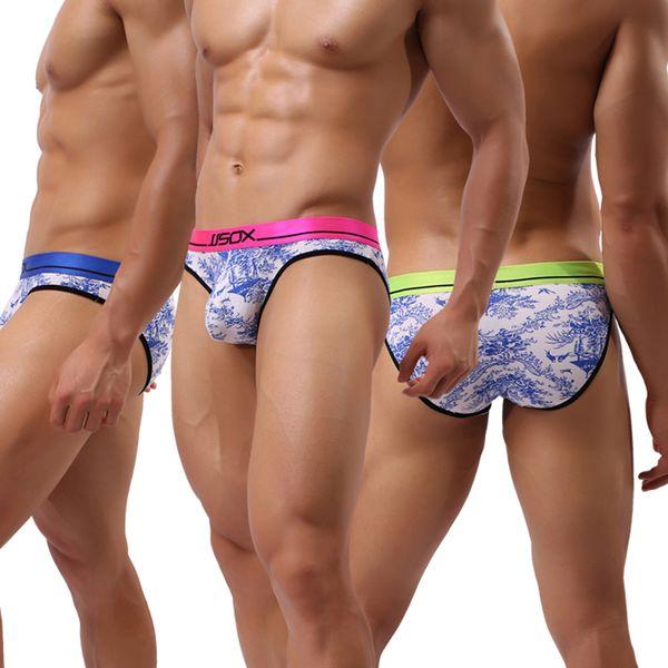 Nueva marca caliente Azul Blanco Estampado Hombre Sexy Bulge Pouch Big Briefs Ropa interior / Gay Modal Slips Jockstraps Bragas