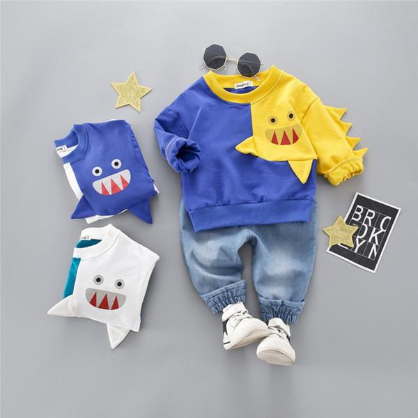 Abbigliamento bambino Bambino Bambino Inverno Ragazzo Cartone animato Manica lunga Top Denim Pantaloni Completi Set # 4j22