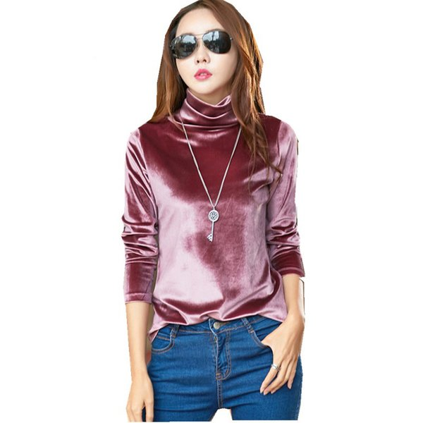 2019 Yaz Yeni Moda Sıcak Satış Seksi Kadın Giyim tasarımcısı 3XL uzun kollu balıkçı yaka kadife artı boyutu giyim Güz tops T-shirt