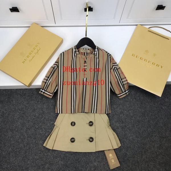 Çocuk Giyim gömlek Kruvaze etek Setleri Kız Moda Kıyafetler Yaz Kısa etek Ekose Üstleri + Etekler İki Adet toddler kız clothes10