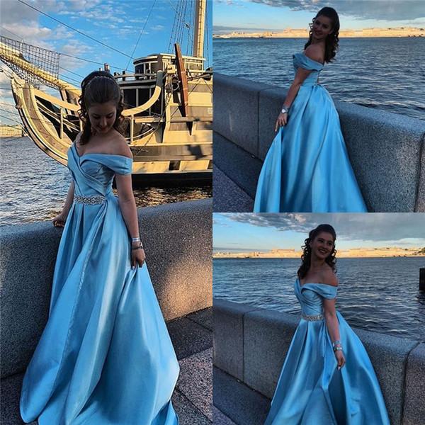Elegant Aline Satin Off Shoulder Sleeveless Evening Dresses Formal Prom Party Gowns Floor Length Custom Made