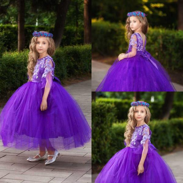 2020 زهرة الفتيات الثياب الأرجواني جوهرة الرقبة المناولة الأولى المقدس اللباس تول الكرة أثواب الاطفال ملابس رسمية