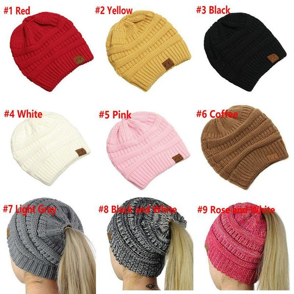 4db1311e CC Ponytail Caps CC Knitted Beanie Fashion Girls Winter Warm Hat Back Hole  Pony Tail Autumn Casual Beanies Fedora Hat From Haynes, &Price;| DHgate.Com