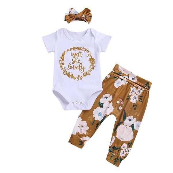 INS Yürüyor Butik Kıyafetler Bebek Mektup baskı romper + çiçek Pantolon + Kafa 3 adet Set Bahar Güz Giyim