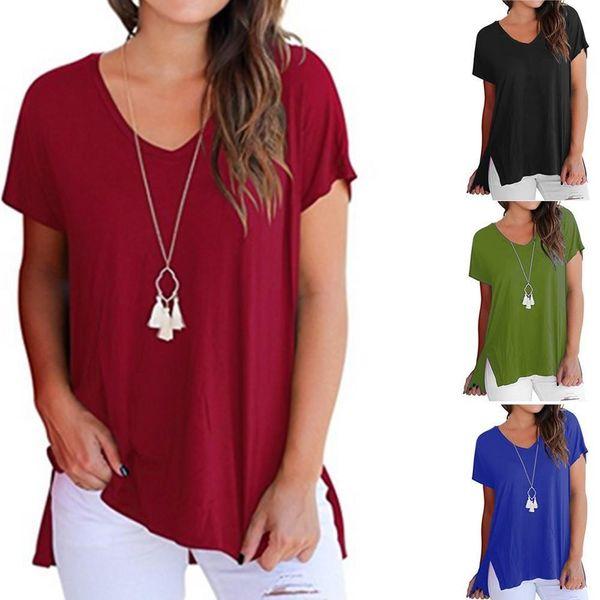 New arrival T Shirt Women Short Sleeve crop top Basic Tee Tops side split Casual Tees Shirt Vetement Femme
