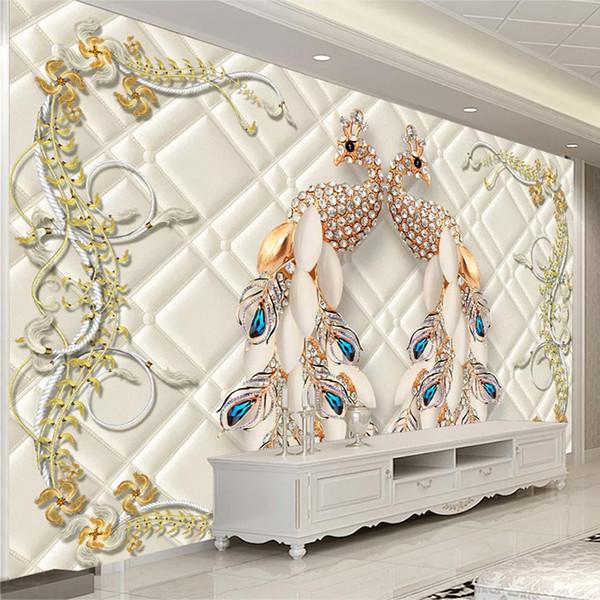 Benutzerdefinierte 3D Wandbild Europäischen Stil Pfau Schmuck Luxus Tapete Wohnzimmer TV Sofa Hintergrund Wanddekor Papel De Parede