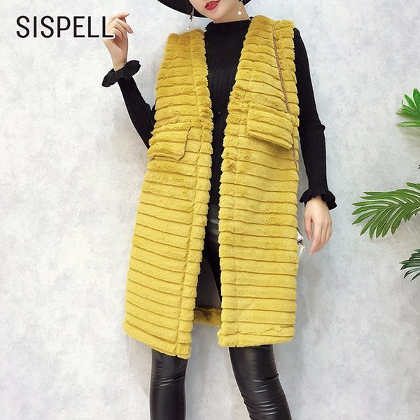 SISPELL Winter Black Waistcoat For Women Female Vest Cardigan Coat Leather Hair Striped Loose Sleeveless Vest Clothes Fashion