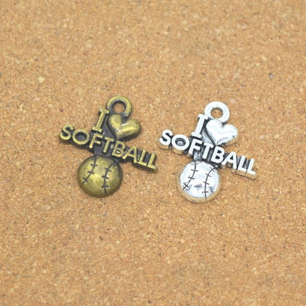 9edc6d231ba70 2019 Hot Sale High Quality Antique Silver Charm I Love Softball Charms  Pendant For Necklace Bracelet Jewelry Accessories From Pickled, $34.46 | ...