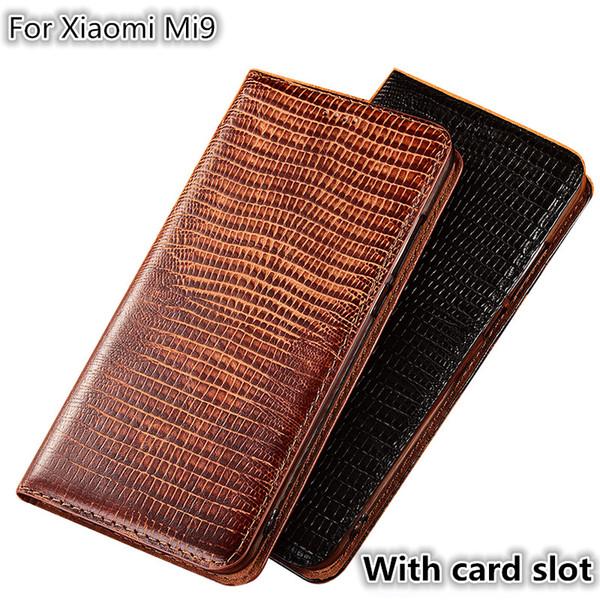 QX08 Motif De Lézard En Cuir Véritable Magnétique Téléphone Cas Pour Xiaomi Mi9 Flip Case Pour Xiaomi Mi9 Téléphone Sac Carte Fente