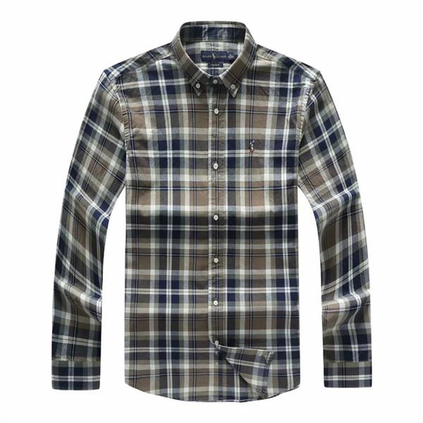 marque automne Hommes chemise boutonnée formelle Chemises pur coton manches longues Homme Chemises Hit Casual Couleur rayures Plaid Robe homme Chemises