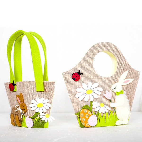 Easter Bunny Handbag Nordic Style Fabric Tote Bag Easter Egg Rabbit Portable Storage Bag Easter Party Festival Bags