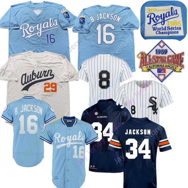 huge discount ddd4d 52046 2019 Bo Jackson Jersey Royals White Sox Kansas City Chicago Baseball 1985  1987 Turn Back 29# Blue White Cooperstown Home Away From Davidjersey,  $16.26 ...