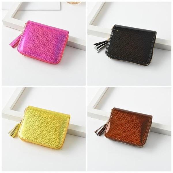 Woment Laser Quasten Geldbörse Karte Handtasche Bright Leather Wallet Square Shape Weiß Gelb Factory Direct Sales 5dg C1