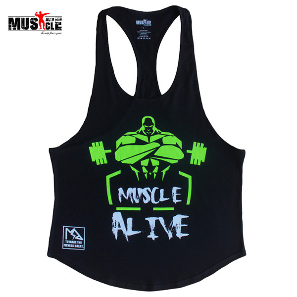 MUSCLE ALIVE Fitness Tank Top Men Bodybuilding Clothing Workout For Man Cotton Sleeveless Casual Vests Stringer Singlets MATPHXB Y19042204