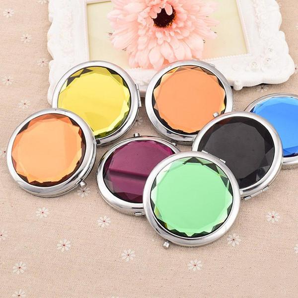 Sevimli Yuvarlak Makyaj Kapaklı Aynalar Promosyon Özel Kristal Yüzey Aynalar Taşınabilir Cep Mini Kozmetik Ayna Kadın Kozmetik BH0863 TQQ