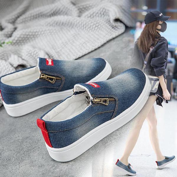 2019 New Spring Autumn Flat Shoes For Women Denim Flat Platform Classic Fashion Flat Casual Shoes Sneakers Zapatos De