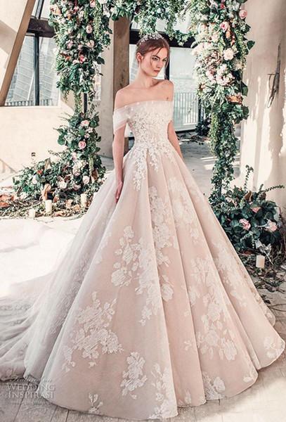 Tony Ward Boho Wedding Dresses Off Shoulder Lace Applique Sweep Train Sleeveless Beach Wedding Gowns Beaded Plus Size Bridal Dress 4359