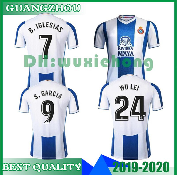 2019 New 19 20 Rcd Espanyol Soccer Jersey Home 24 Wu Lei 2019 2020 Camisa 7 Biglesias S Darder David Lopez Marc Roca Ferreyra Football Shirts From