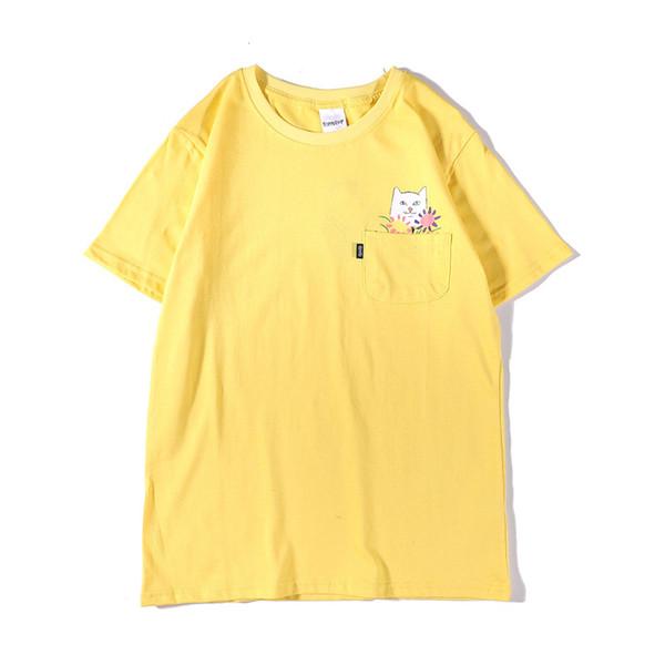 2019 Summer New Mens Designer T Shirt Fashion Cartoon Pocket Cat Middle Finger Cat Printing Tees Couple Short Sleeved T Sh