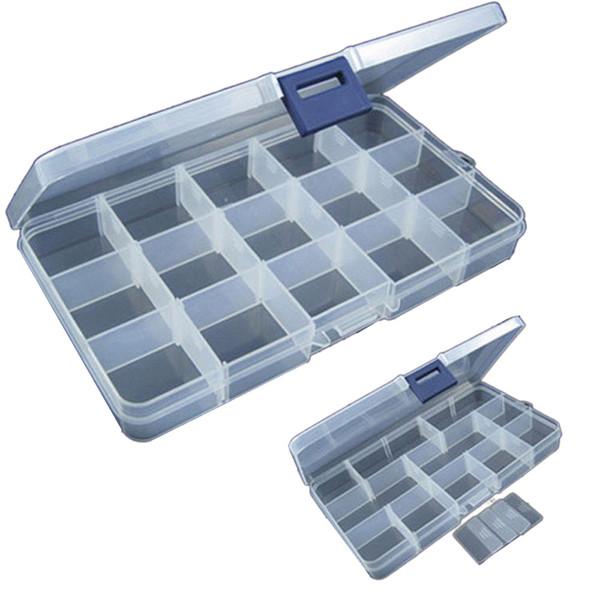 15 ranuras de plástico ajustable señuelo de pesca gancho caja de aparejos caja de almacenamiento aparejo portátil organizador multifuncional cajas de pesca