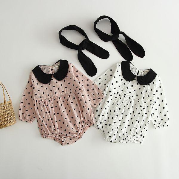 Bebek çocuk giysi tasarımcısı Romper Pet Pan Yaka Uzun Kollu Polka Dots Baskı Romper Kafa Giysileri ile% 100% pamuk kız erkek tulum 0-2 T