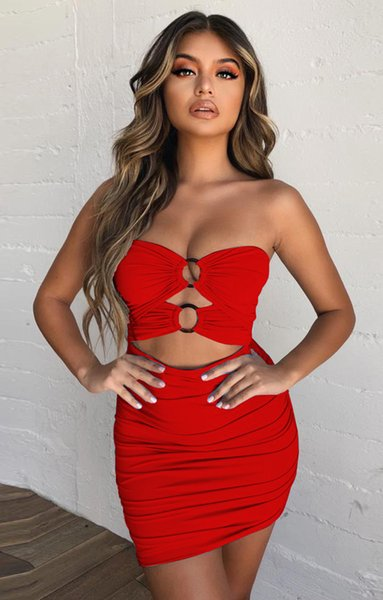 Dresses Women Dresses Women Clothes Summer Dress Bodycon Dresses Mini Robe White Cut Out Ruched Strapless Sexy Summer Drop Shipping 2019