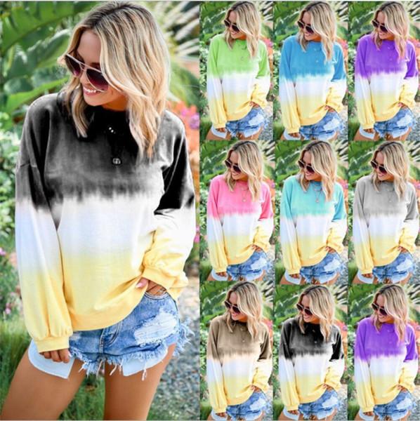 Mulheres Soltas Blusas Tie Dye Moletom Com Capuz Cor Gradiente Camisolas Esportes Tops Outono Longo Pullover T shirt da camisa T Plus Size Top S-5XL B82201